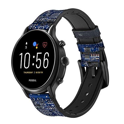 Innovedesire Board Circuit Correa de Reloj Inteligente de Cuero y Silicona para Fossil Mens Gen 5E 5 4 Sport, Hybrid Smartwatch HR Neutra, Collider, Womens Gen 5 Tamaño (22mm)