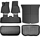 SUPER LINER All Weather Floor Mats for Tesla Model Y 2020 2021 Custom Fit TPE Car Floor Mats Cargo Liner Rear Cargo Tray Trunk Waterproof Interior Accessories Set