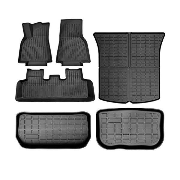 super liner all weather floor mats for tesla model y 5-seat 2021 custom fit tpe car floor mats cargo liner rear cargo…