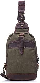Rjj Retro Men's Bag Canvas Chest Bag Shoulder Crossbody Outdoor 35 * 7 * H18CM Exquisite (Color : Green)