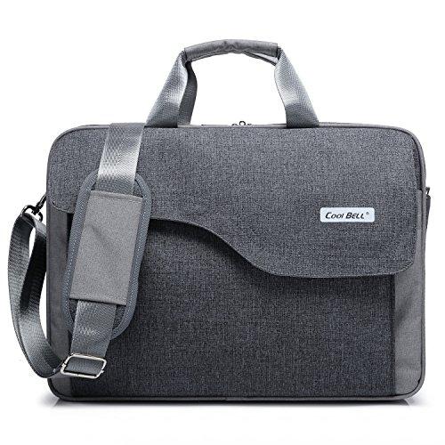 CoolBELL 15,6 Zoll Laptop Tasche Nylon Schultertasche mehrfach Abteil Messenger Bag Handtasche Aktentasche Businesstasche Notebooktasche für Laptop/Tablet/MacBook,Grau
