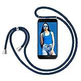 ZhinkArts Handykette kompatibel mit Samsung Galaxy A5 2017 (A520) - Smartphone Necklace Hülle mit Band - Handyhülle Hülle mit Kette zum umhängen in Blau