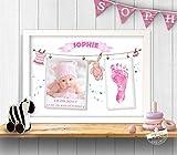 Fußabdruck mit Babyfoto und Geburtsdaten als persönliches Geschenk zur Geburt, Papier, Leinwand