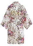 YAOMEI Donna Sposa Kimono Vestaglia Pigiama Sleepwear, di Seta RasoFiori di ciliegio Robe Accappatoio Damigella d'Onore Pigiama S-2XL (Busto: 126 cm, Fit S-2XL, Bianco Bride)