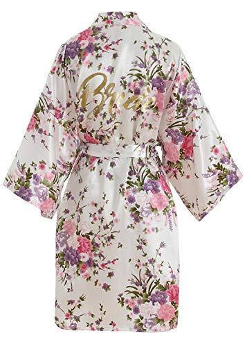 YAOMEI Damen Braut Brautjungfer Morgenmantel Kimono Satin Nachtwäsche Bademantel Robe Funkeln Kirschblüten Negligee Schlafanzug S-2XL (Fehlschlag: 126 cm, Fit für S bis 2XL, Weiß Braut)