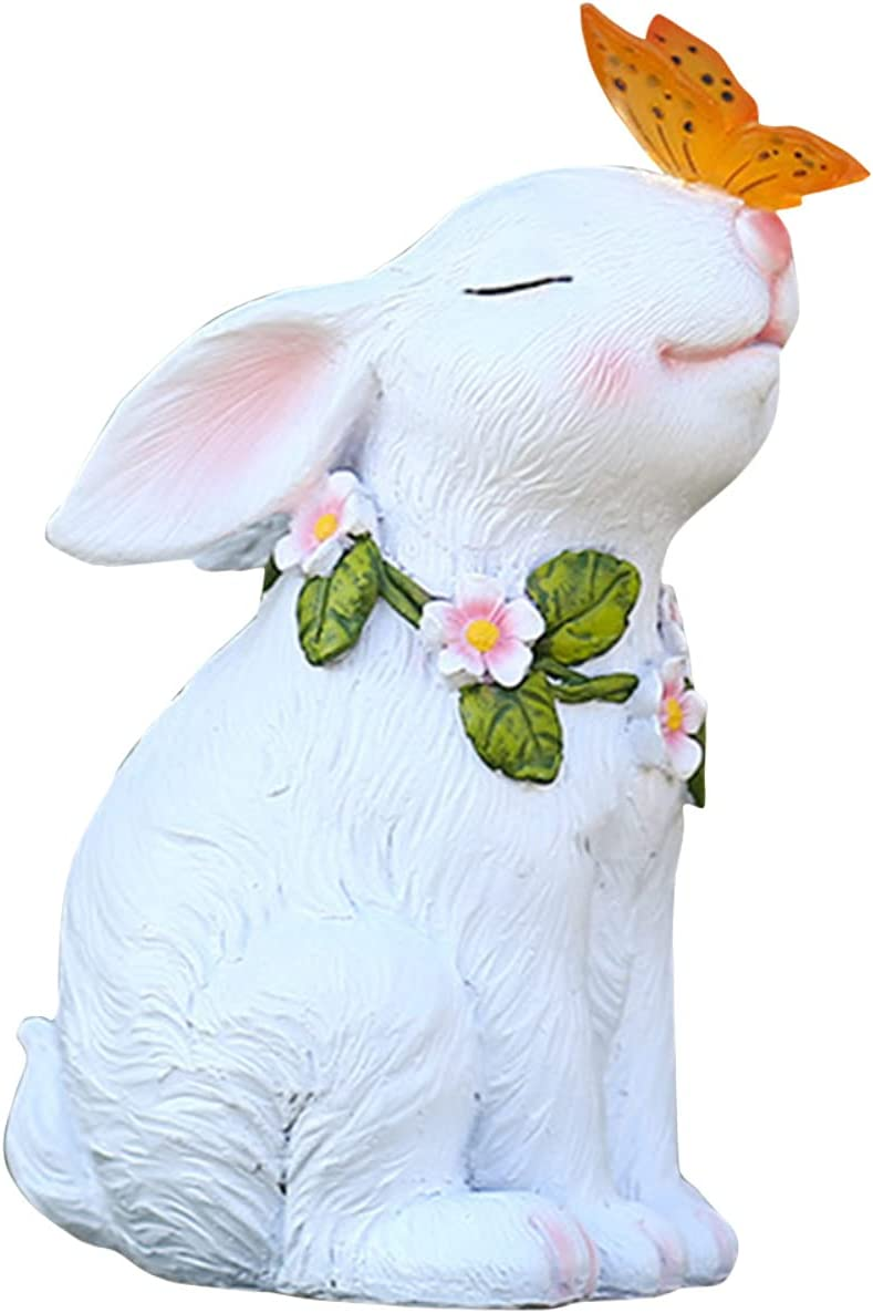 Cute Rabbit and Butterfly Max 45% OFF Year-end gift Kiss Res Glowing Outdoor Solar Statue