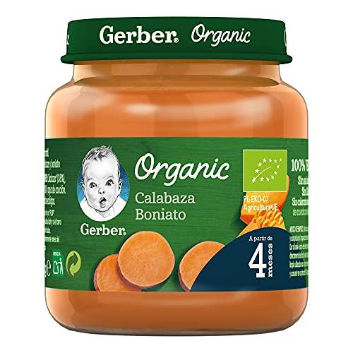 GERBER Organic Calabaza Boniato 130 g - Pack de 6