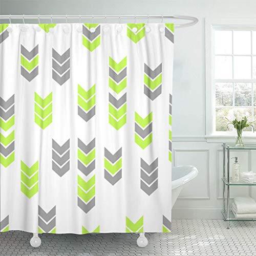 N\A Duschvorhang wasserdicht Mehltau grün Neon Flat Style Pfeil Muster grau abstrakt Dreieck Geometrie Bewegung geometrisches Design Bilddruck Polyester Stoff Verstellbarer Haken