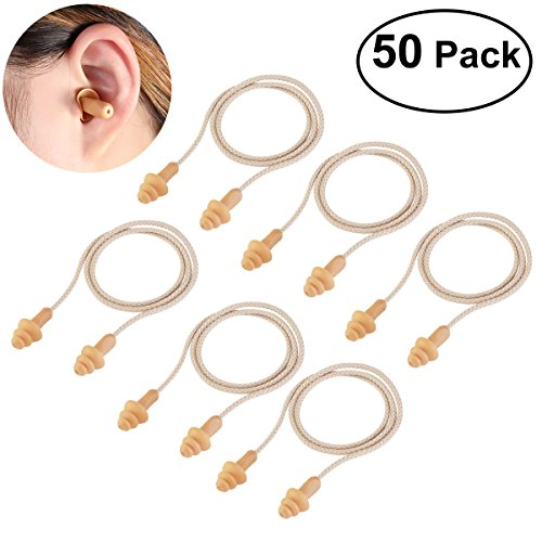 WINOMO Ear Plugs 50 Pairs Corded Soft Silicone Reusable for...
