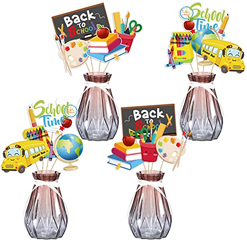 Back to School Centerpiece Sticks, Konsait 24pcs First Day of School Table Toppers, Welcome Back to School Classroom Decorations Accessories, Celebrate Enrollment Party Favor Table Supplies