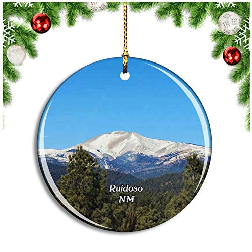 Ruidoso Lincoln National Forest New Mexico USA Christmas Ornament Xmas Tree Decoration Hanging Pendant Travel Souvenir Collection Double Sided Porcelain 2.85 Inch