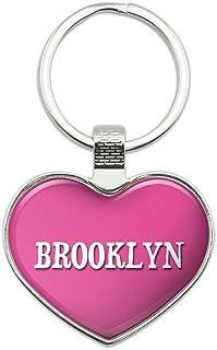 Metal Keychain Key Chain Ring Pink I Love Heart Name B - Brooklyn