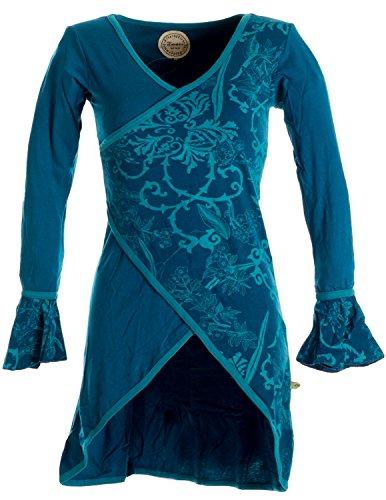 Vishes – Alternative Bekleidung – Asymmetrisches Lagenlook Baumwollkleid mit Rüschen – Bedruckt türkis 36