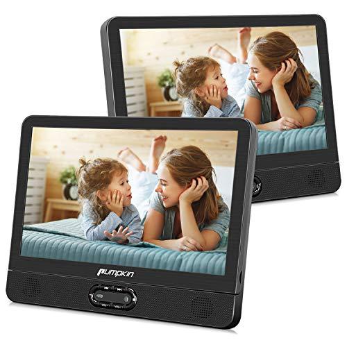 Pumpkin 12 Pouce Double Ecrans d'Appui tête Lecteur DVD Voiture pour Enfant (Un Lecteur DVD et Un Moniteur) Supporte AV in AV Out Région Libre USB SD