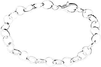 Housweety 12 Silver Plated Chain Bracelets Fit Clip on Charm 20cm(7-7/8