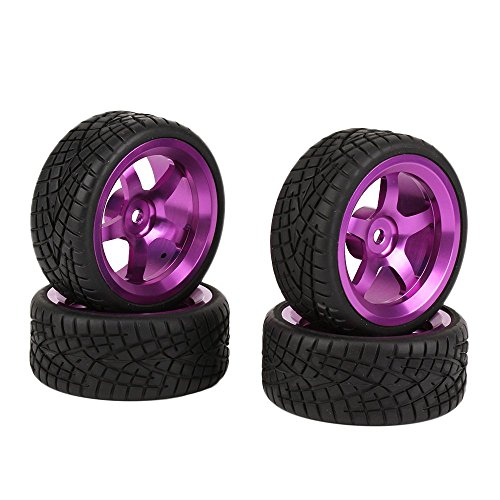 BQLZR Schwarz RC 1:10 On-Road Racing Car Wheel Felgen & Reifen Reifen 4er Pack
