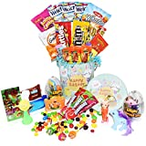 Easter Snack Gift Tin Basket - Easter Candy, Eggs with Toys, Easter Chocolates - Great Easter Care Package for Family, Friends, Kids, Coworkers - Green Tin (Girls)