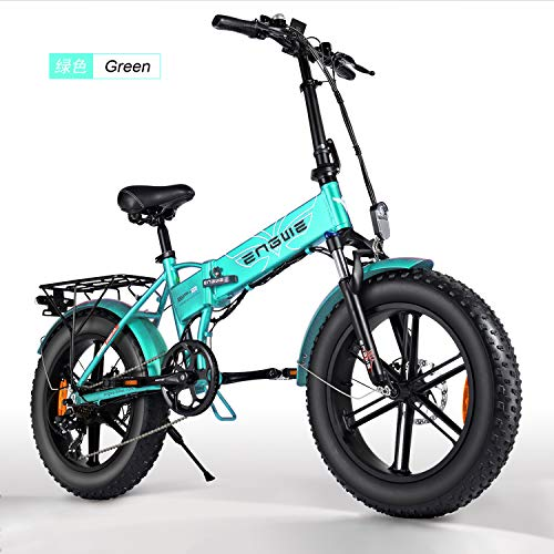 Belle House Green 500W 20 inch Fat Tire Electric Bicycle Mountain Beach Snow Bike for Adults, Aluminum Electric Scooter 7 Speed Gear E-Bike with Removable 48V12.5A Lithium Battery