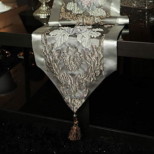 WENJUN Tafelloper Moderne Luxe Jacquard Damask Bloemen Tafellopers En Dressoir Sjaals Met Multi-kwasten, Klassieke Tafelloper,6 Kleuren