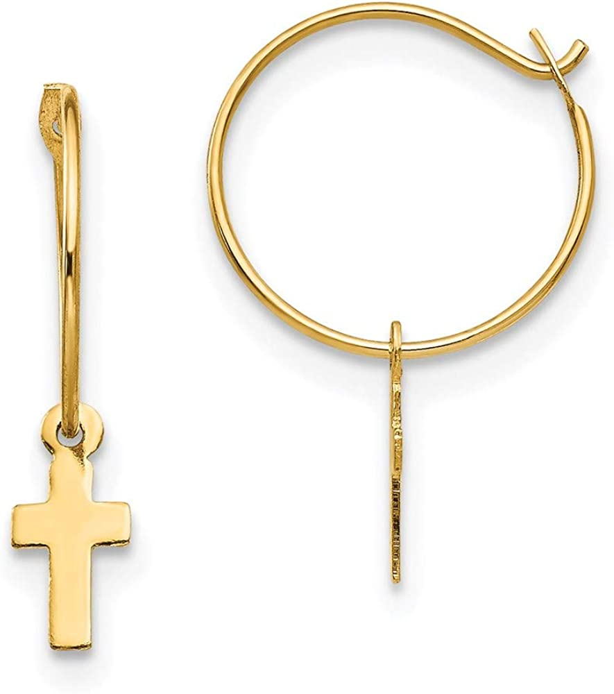 14k Yellow Gold Endless Hoop Small Cross Religious Earrings Ear Hoops Set Fine Jewelry For Women Gifts For Her