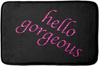 Memory Foam Bath Mat Large Size 31.5 by 19.8 Inches, Soft and Comfortable, Absorbent, Non-Slip, for Bathroom Floor Rug, Hello Gorgeous Chic Pink Black Girly Quotes