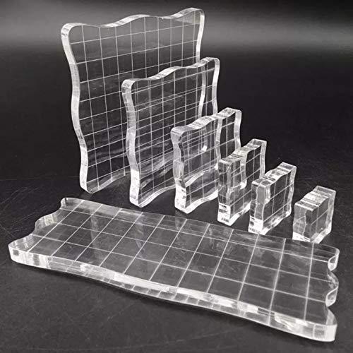 7 Piezas Bloques Estampación de Acrílico, Sellos Transparentes de Acrílico con Líneas de cuadrícula, para la Producción de Manualidades de Scrapbook, Decoración de Diseño de Bricolaje