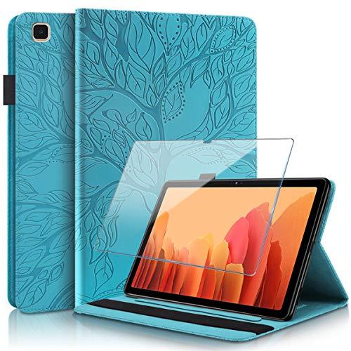 Reshias Funda compatible con Samsung Galaxy Tab A7, azul PU piel Flip Wallet Funda con un protector de pantalla de vidrio templado para Samsung Galaxy Tab A7 2020 (10,4 pulgadas)