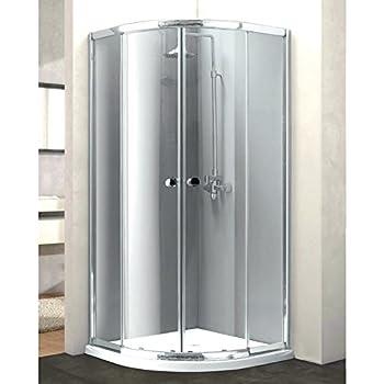 Mampara de ducha semicircular de cristal perlado de 6 mm y aluminio, deslizante, 90 x 90 cm, Showertech: Amazon.es: Bricolaje y herramientas