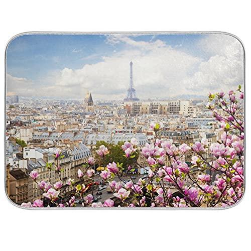 Oarencol Alfombra absorbente de microfibra para cocina, diseño de la Torre Eiffel de Paris, 40,6 x 45,7 cm