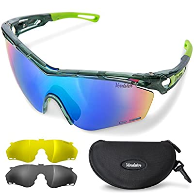 Verdster Cycling Sports Sunglasses with 3 Interchangeable Lenses for Running Driving Biking Golf Baseball Fishing - Mirrored, Polarized and Yellow