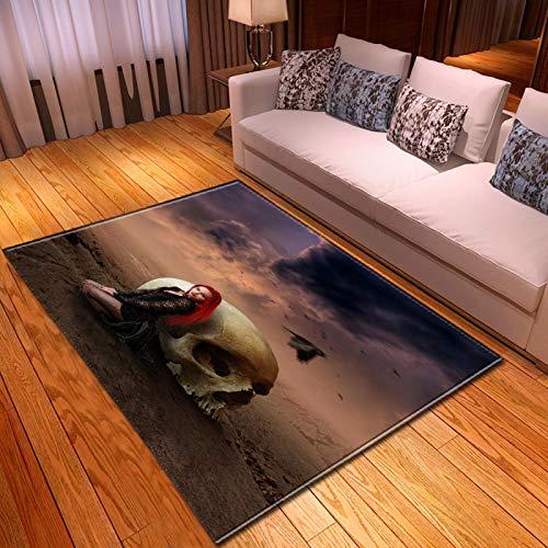 LGXINGLIyidian Casa Alfombra Serie Creativa del Cráneo del Demonio Oscuro Alfombra Suave Antideslizante De Decoración del Hogar De Impresión 3D T-452K 100X150Cm