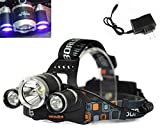 WindFire 3X CREE LED (1x Cree T6 White LED and 2 x UV LEDs) 4 Modes 395-410nm UV-Ultraviolet Led Blacklight Headlamp for Money Detect, Leak detector and Cat-Dog-Pet Urine Detect (Battery not included)