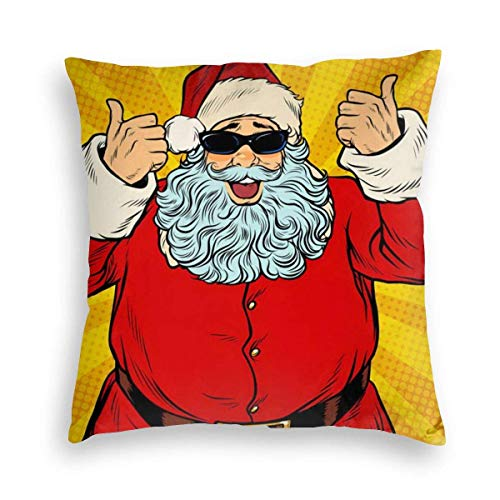 Ahdyr Cool Santa Claus Funny Christmas Xmas Velvet Soft Square Throw Pillow Covers Home Decor Decorations Cushion Case for Indoor Sofa Bedroom Car 18 X 18 Inch