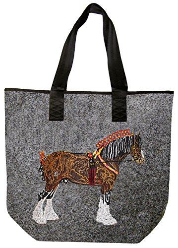 Vilt met uitgebreid borduurwerk Paard Koud Bloed - 26107 - Schoudertas Shopper
