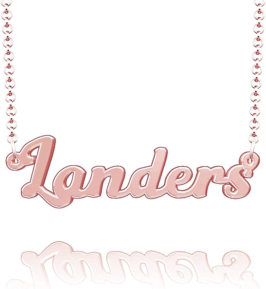 LoEnMe Jewelry Customized Landers Name Necklace Stainless Steel Plated Custom Made of Last Name Gift for Family