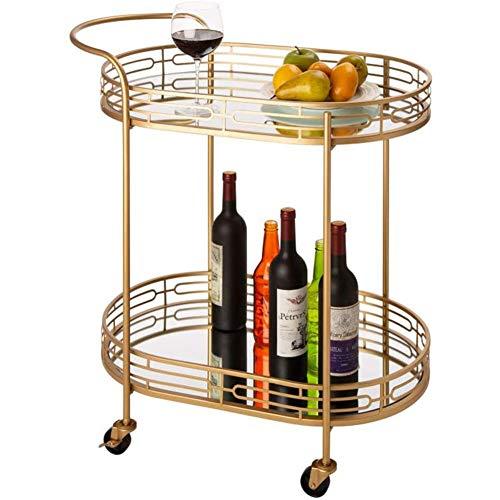 """30,71\""""H Oval Gold Bar Cart mit 4 Rädern 2-Tier Deluxe Tray Metall Spiegelglas Roll Rolling Servierwagen für Küche Wohnzimmer Hotel Wein/Tee Servierwagen"""
