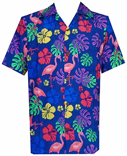 Hawaiian Shirt 37 Mens, Flamingo Leaf Print Beach Aloha Party (Color: Blue/Size: XL)