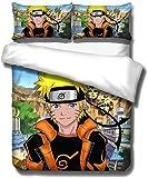 Sjj-RE Naruto - Juego de cama infantil de 3 piezas, funda nórdica con...