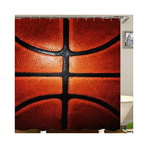 SonMo Duschvorhang Polyester Wasserdicht Anti-Bakteriell Bad Vorhang für Badezimmer Polyester Basketball Rot Schwarz 180X200
