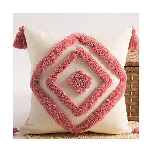 Decorative Throw Pillow Covers Set of 2, Super Soft Woven Tufted Velvet Cushion Cover with Tassel Classic Wave Line Pattern Pillow Case for Sofa Living Room 18X18 Inch,d