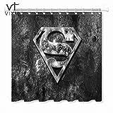 YUJEJ801 Superman-Logo Duschvorhang 180x180 Anti-Schimmel & Wasserabweisend Shower Curtain mit 12 Duschvorhangringen 3D Digitaldruck Farben Bad Vorhang für Badzimmer Dekorieren