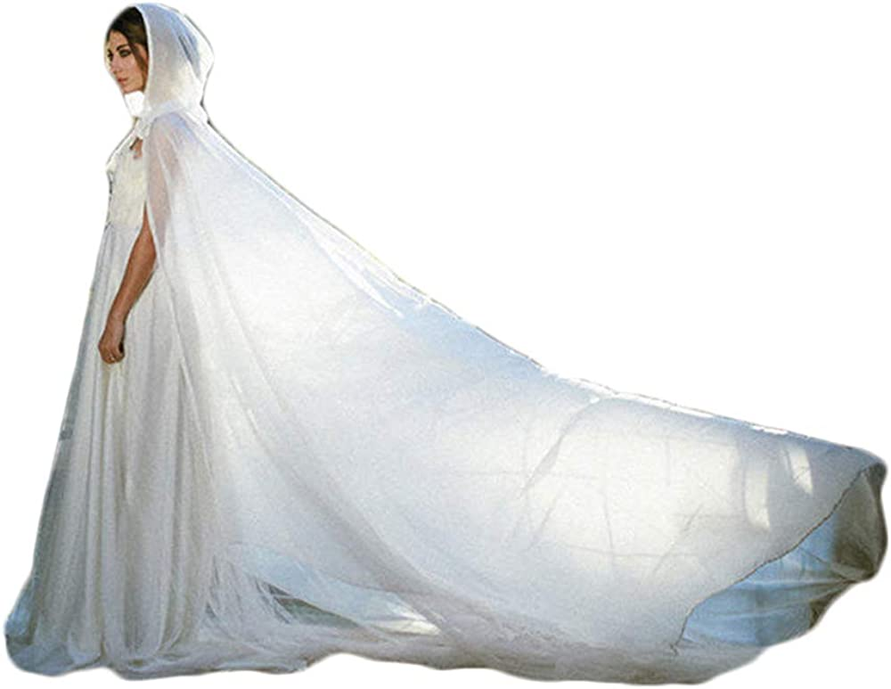Women's Hooded Bridal Capes Sheer Chiffon Wedding Cape Long for Brides