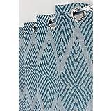 Rideau 140 x 240 cm à Oeillets Jacquard Effet Naturel Motifs Losanges Bleu