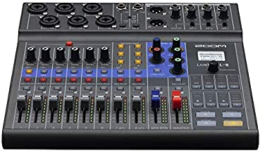 Zoom LiveTrak L-8 Podcast Recorder, Battery Powered, Digital Mixer and Recorder, Music Mixer, Phone Input, Sound Pads, 4 Headphone Outputs, 12-In/4-Out Audio Interface, Built In EQ and Effects