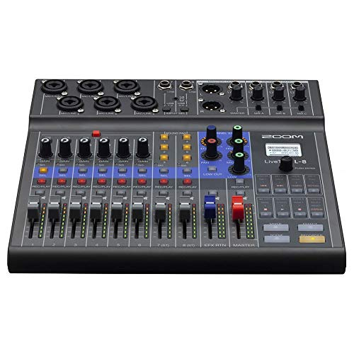 Zoom LiveTrak L-8 Podcast Recorder, Battery Powered, Digital Mixer and...