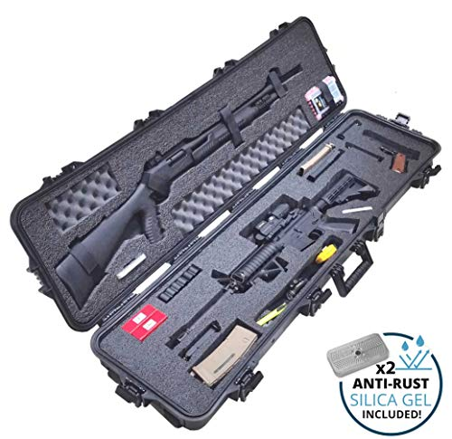 Case Club Pre-Cut Waterproof 3 Gun Competition Case with Accessory Box and Silica Gel to Help Prevent Gun Rust