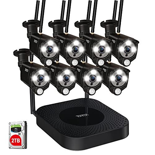 【LED Flutlicht & PIR Wärmesensor】 Tonton 5MP Outdoor WLAN Überwachungskamera Set mit 8 Funk Wireless 3MP Überwachungskamera 30M Infrared/Farbe Nachtsicht Alarmanlagen App Software Fernzugriff 2TB HDD
