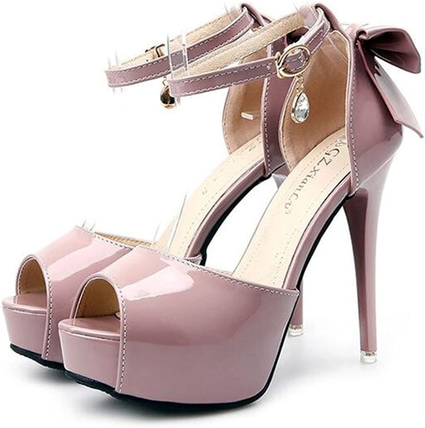 Women's Patent Leather Fashion Sexy Ankle Strap Pumps Platform Stiletto High Heels Party shoes