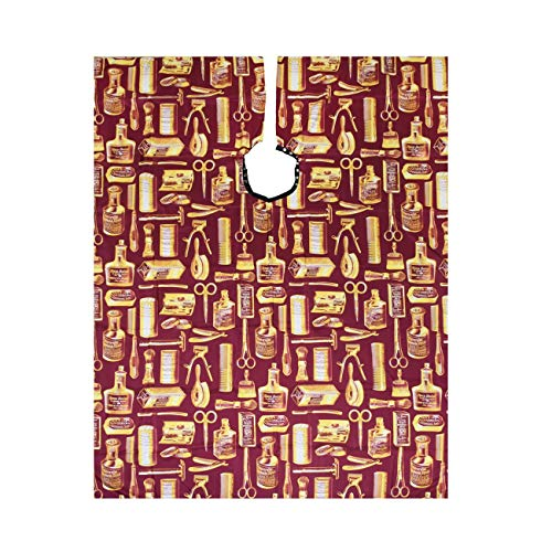 Betty Dain Vintage Print Barber Cutting Cape, Stylish, Lightweight Fabric Repels Hair, Classic Color and Pattern, Water-Resistant, Snap Neck Closure, Generous 45 x 60 Inch Size, Gold/Burgundy
