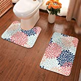 Floral Bloom Print Coral Pink Pale Aqua Blue Gray Navy Flannel Bathroom Rugs Toilet Rug Set 2 Piece, Bath Shower Mat and U-Shaped Toilet Rug, Non Slip, Absorbent